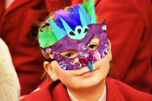 Prebendal pupil in Chichester Cathedral dons animal mask for Noye's Fludde