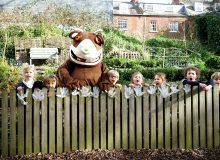 Exeter Cathedral School pupils show off their garden to The Gruffalo!